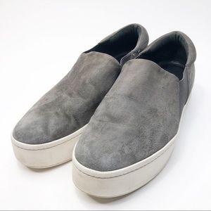 Vince Gray Suede Platform Slip On Sneakers